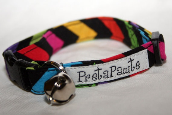 Safety Cat Collar  in multicolour stripes by PretaPawte on Etsy, $15.00