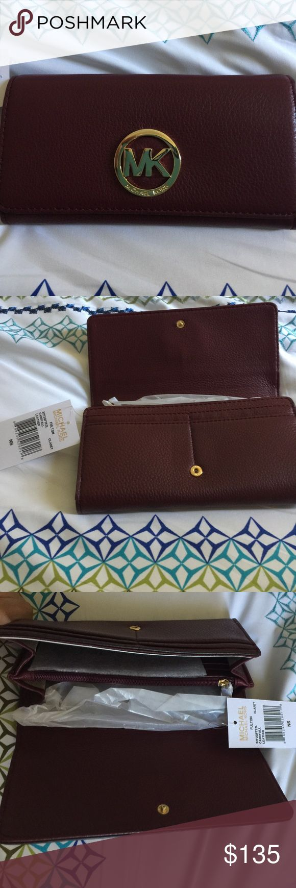 New with Tags Michael Kors Wallet Brand new with Tags Michael Kors Fulton Carryall Leather Wallet. Beautiful claret color. Michael Kors Bags Wallets