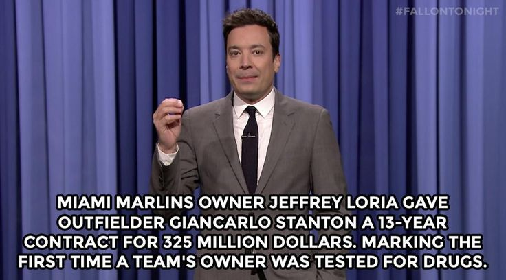 """""""Miami Marlins owner Jeffrey Loria gave outfielder Giancarlo Stanton a 13-year contract..."""" http://www.nbc.com/the-tonight-show/segments/68431…"""