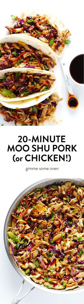 Learn how to make restaurant-quality Moo Shu Pork (or Moo Shu Chicken!) at home in just 20 minutes. So easy, so fresh, and soooo good! | http://gimmesomeoven.com