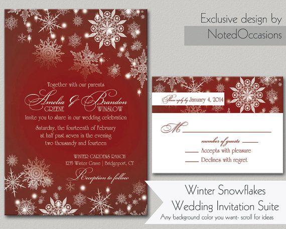 Winter Themed Wedding Invitations: Winter Wedding Invitation Printable Set Christmas Wedding