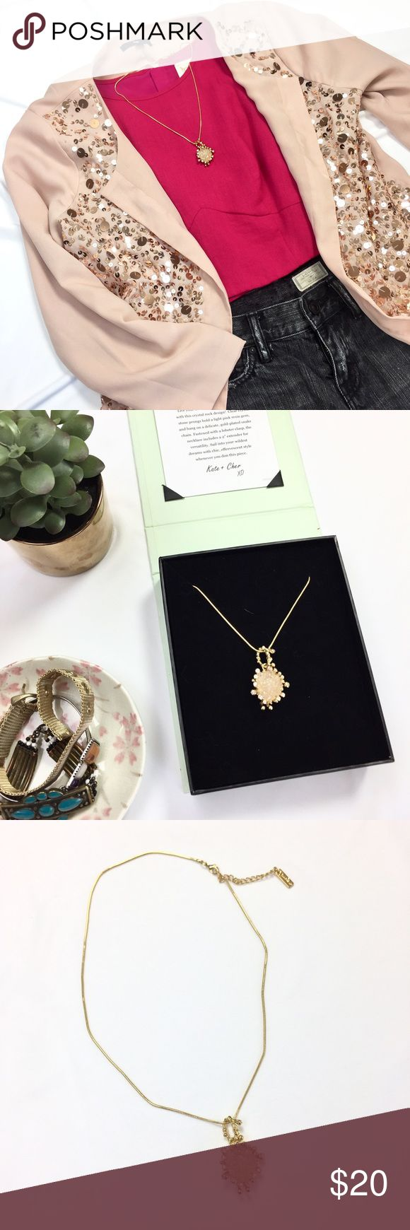 """JewelMint Fantasia Necklace • NO TRADES • Pink resin gem pendant in 18"""" gold plated snake chain. Lobster clasp fastener with 2"""" extender. Worn once and in excellent condition. Comes with original packaging. [[ Other items pictured are also currently listed in my closet: GAP sequined blazer, AllSaints Lowe Low Rise shorts, Keepsake the Label Fuchsia Crop top, and JewelMint Mesh Marvel bracelet ]] • NO TRADES • Jewelmint Jewelry Necklaces"""