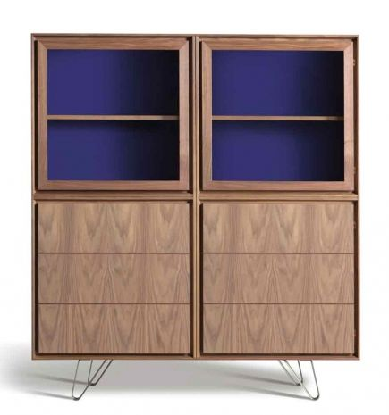 Zero cabinet made of canaletto walnut with blue lacquer inside. design by MAAM