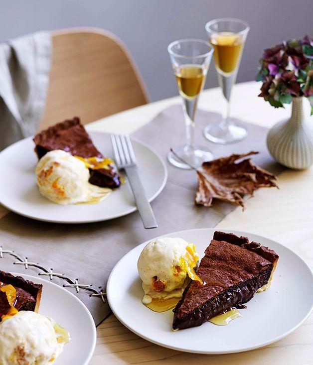 Australian Gourmet Traveller recipe for chocolate tart with orange ice-cream.