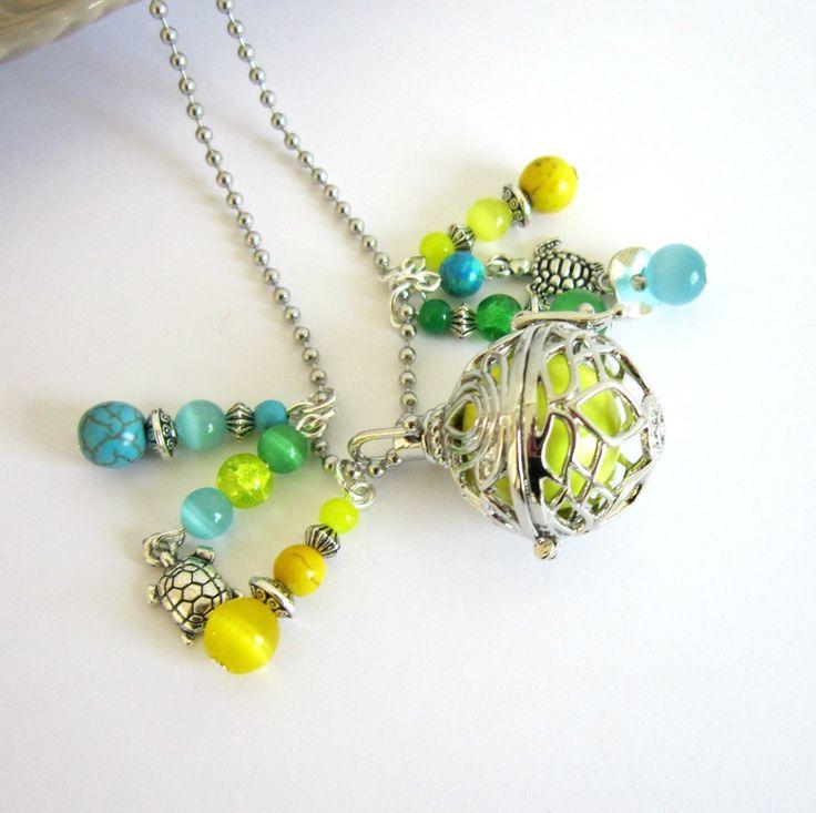 Bola de grossesse argenté, jaune, bleu turquoise et vert, cadeau femme enceinte, tortues, fleur de lotus, chaîne à billes : Collier par color-life-bijoux
