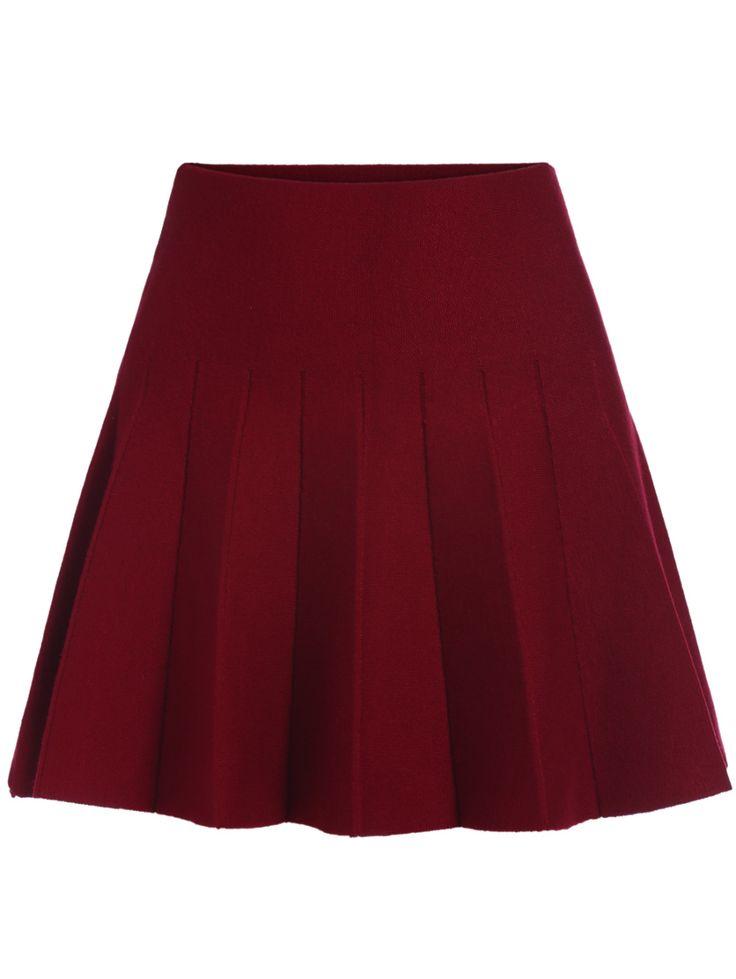Elastic Waist Flare Maroon Skirt 13.05