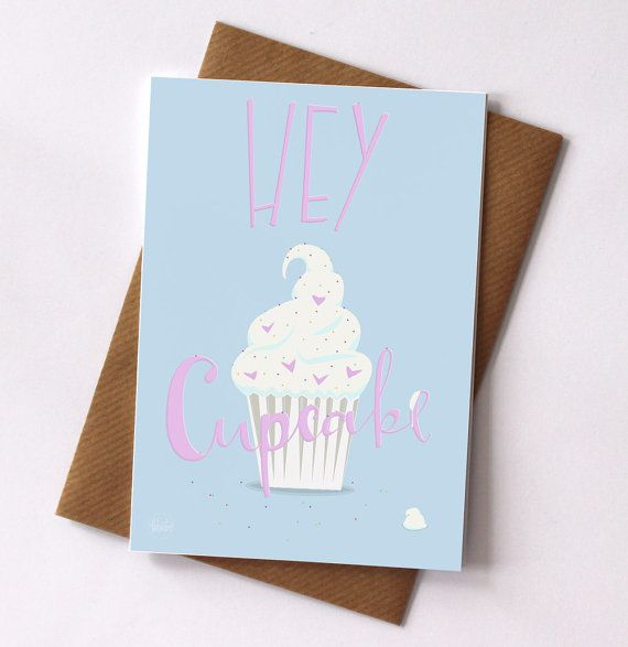 Hey Cupcake Blank Greetings Card by FelicityMildred on Etsy, £2.50