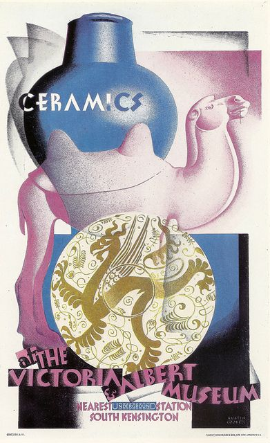 """Austin Cooper  """"Ceramics at the Victoria & Albert Museum"""" - London Underground poster by Austin Cooper, 1930 by mikeyashworth, via Flickr"""