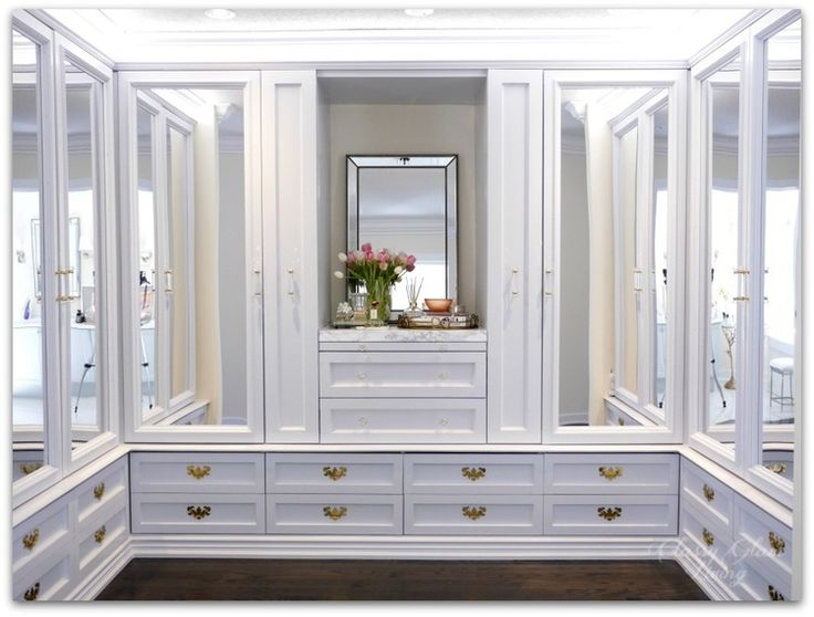 DIY Custom Dressing Room Walk-in Closet | Closet design, ample drawers, mirror closet doors, built-in vanity with pull-out folding table, and pull-out side racks | Classy Glam Living