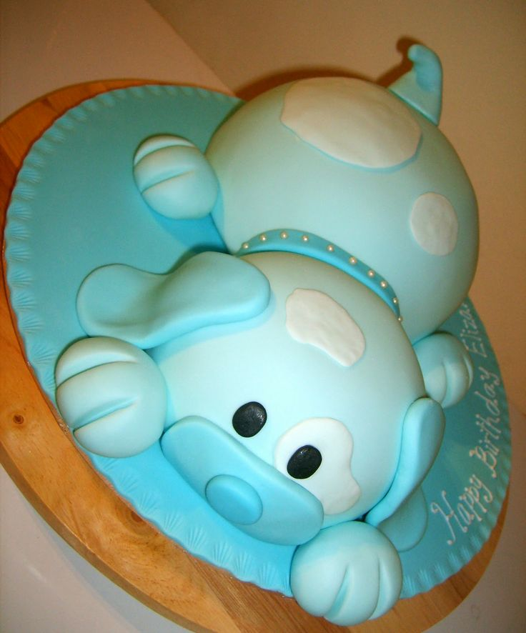 Cute puppy cake!!!  For Drew's 3rd birthday cake in different colors.