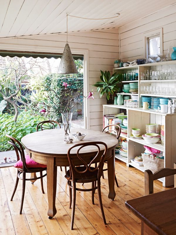 vintage style dining room and great shelves in the home of Sarah Murphy, Matthew McCaughey and Family as seen on The Design Files