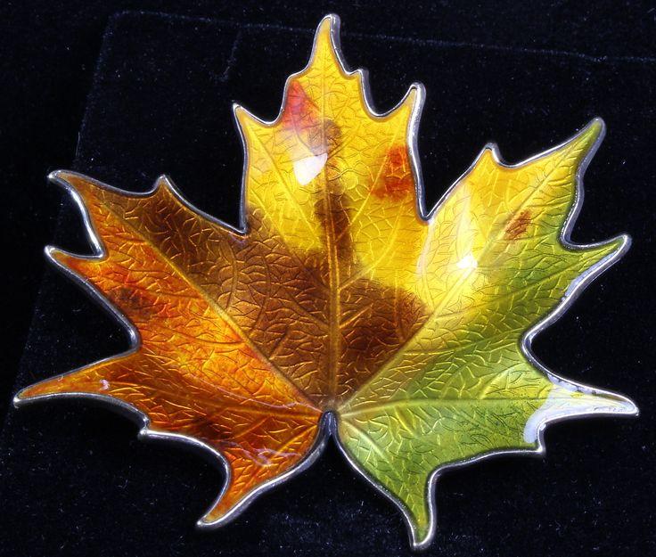 Vintage Hroar Prydz Norway Sterling Silver Enamel Guilloche Maple Leaf Brooch W1 | eBay