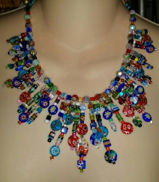Just finished.  Millefiori italian style statement necklace by Jannice Arbogast - SOLD