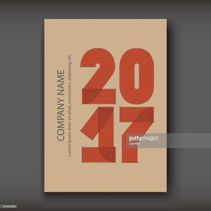 Vector Art : Cover Annual Report numbers 2017, modern design red on craft paper background, year 2017 in thin lines striped minimalist, numbers written with a pen, vector illustration