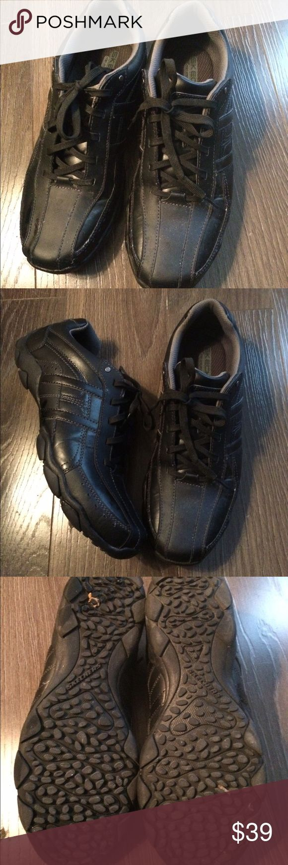 Skechers Leather Men's Tennis Shoes Size 12 black leather only worn once Skechers Shoes Athletic Shoes