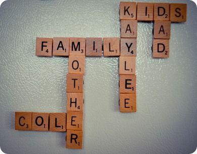 Refrigerator Scrabble {love it!}: Kids Learning, Fridge Magnets, Diy Scrabble, Fridge Scrabble, Refrigerators Scrabble, Magnets Boards, Magnets Scrabble, Scrabble Tile, Families Scrabble