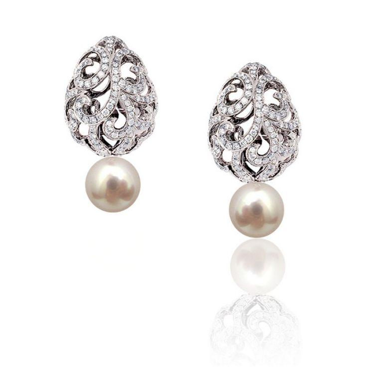 Whispering Teardrop Earrings by Fei Liu - White Gold/Diamond/Pearl #jewellery #feiliu #necklace #luxury #earrings