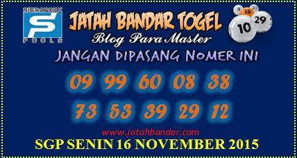 Jatah Bandar singapura Senin 16 November 2015