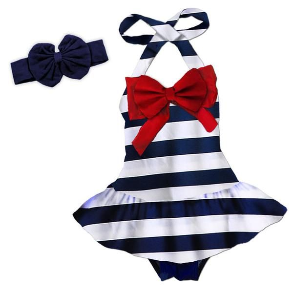 Navy white stripe red bow swimsuit (includes swimsuit) and don't forget to add the optional matching accessories/items: (Headband, Necklace, and Shirt). Availab