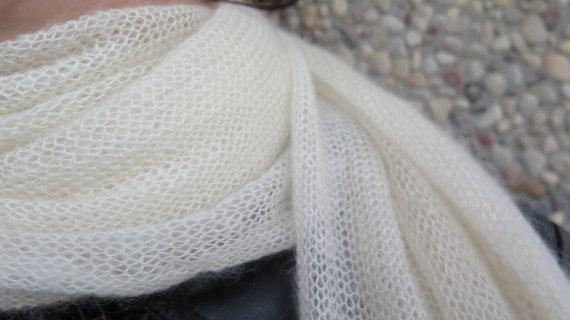 Zijden Mohair sjaal, bruiloft sjaal, uit witte bruids cover-up, Mohair met zijde, grote sjaal minimalist bruiloft stal, witte enorme omslagdoek, haarband