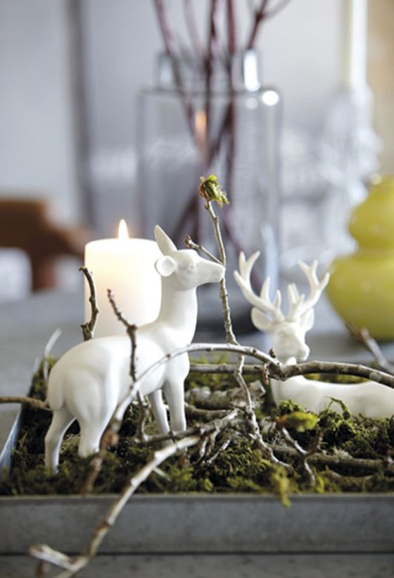 Natural and simple Christmas center decor ideas