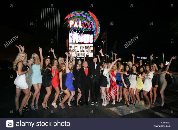 Hugh Hefner, Marston Hefner, Claire Sinclair, Playboy Playmates in attendance for Hugh Hefner and Marston Hefner Birthday Party, Palms Casino Resort Hotel, Las Vegas, NV April 9, 2011. Photo By: James Atoa/Everett Collection Stock Photo