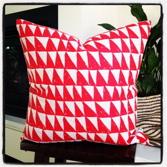 Large Cushion  Triangle Red with linen backing by littlebcushions, $70.00