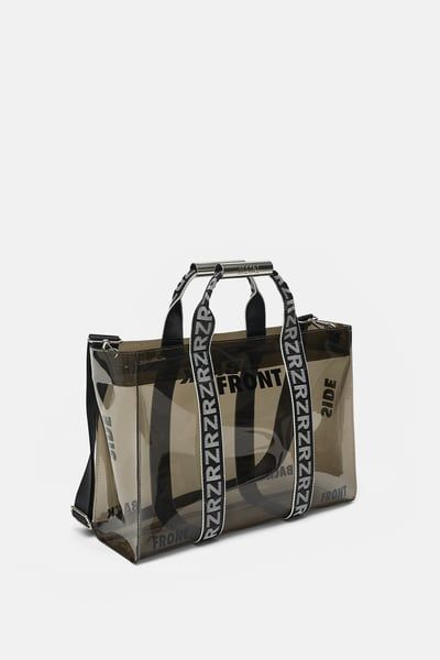 c714b20fc56 VINYL TOTE BAG WITH SLOGANS from Zara