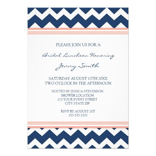 The 25 best lunch invitation ideas on pinterest lunch notes coral blue chevron bridal lunch invitation cards stopboris Images