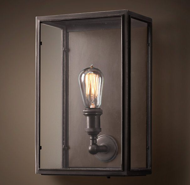 Exterior Wall Hardware : Union filament clear glass wide sconce restoration
