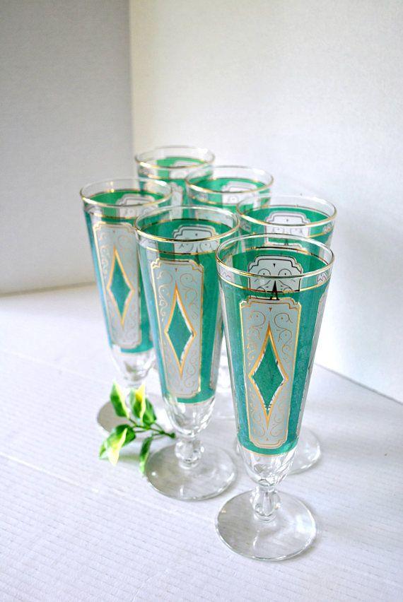 Vintage RARE Libbey Glass Mid-Century Pilsner Glassware in