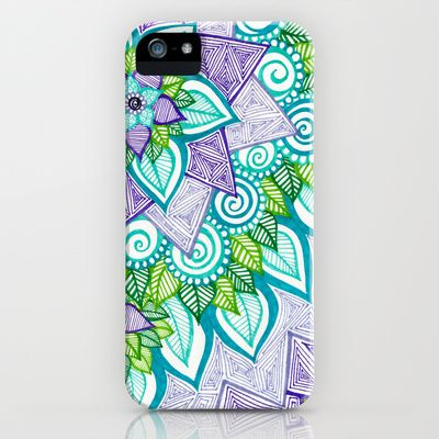 Sharpie doodle 6 iphone ipod case blue green design for Design a case