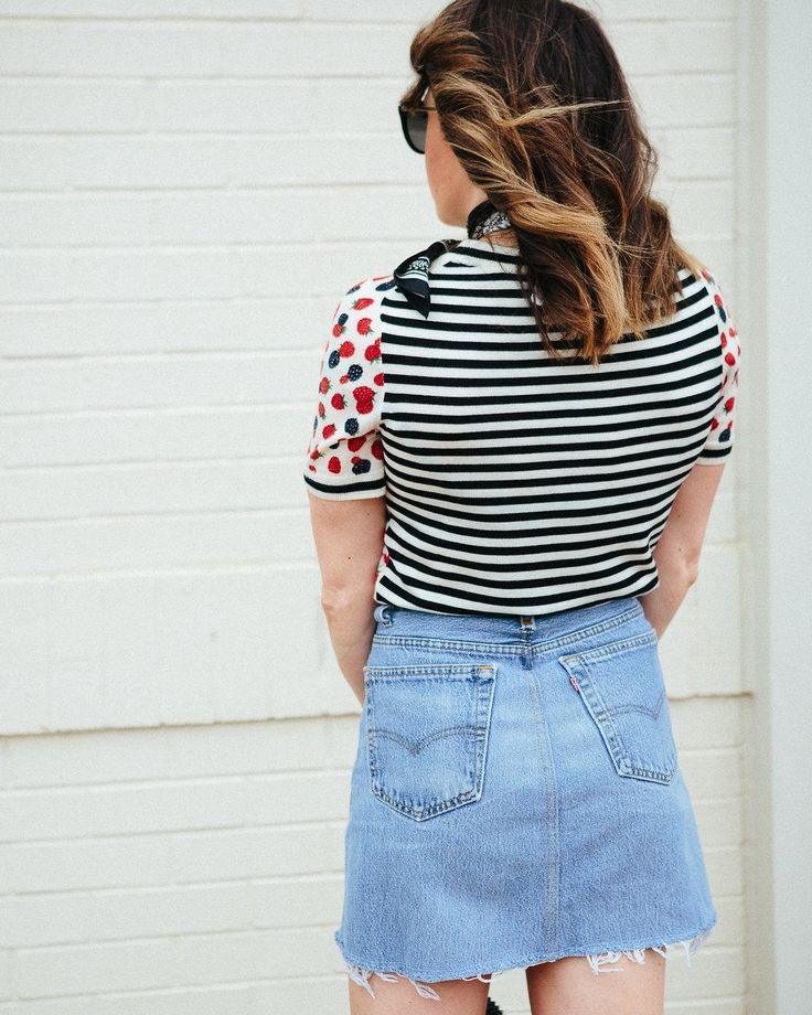 73fd5e4321 J.Crew berry knit shirt // Levi's ReDone denim skirt // Golden Goose  sparkle high tops // Blogger Lindsey Lutz details her top 5 denim skirts  under $100