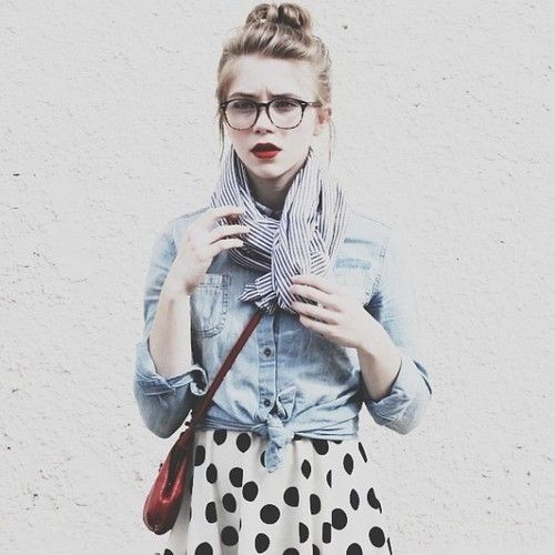 Glasses are the hallmark of the geek chic style. Mid-size lenses are classically geeky, but you can go for any size you want! Try on different styles to see what works best with your face shape.