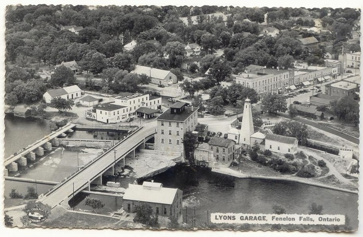 likely 1950's in this aerial photo ... My how things have changed in Fenelon Falls ... yet you can still spot familiar landmarks which still stand today.