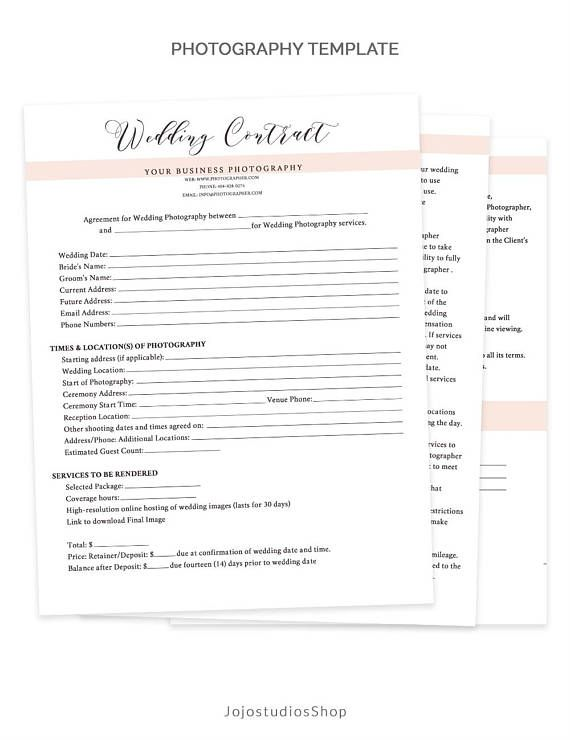 Very Detailed Wedding Contract Photography Form Template To Help