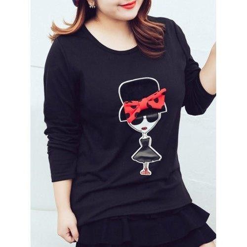 Plus Size Polka Dot Bowknot Print T-Shirt