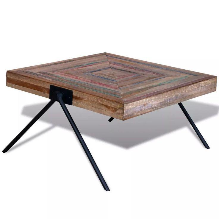 Table basse vidaXL avec pieds en V en bois de réc…