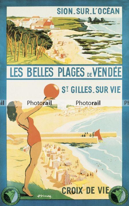"""Affiche retro vintage - """"Les belles plages de Vendee, Sion-sur-l'Ocean, Saint-Gilles-sur-Vie, Croix-de-Vie"""""""