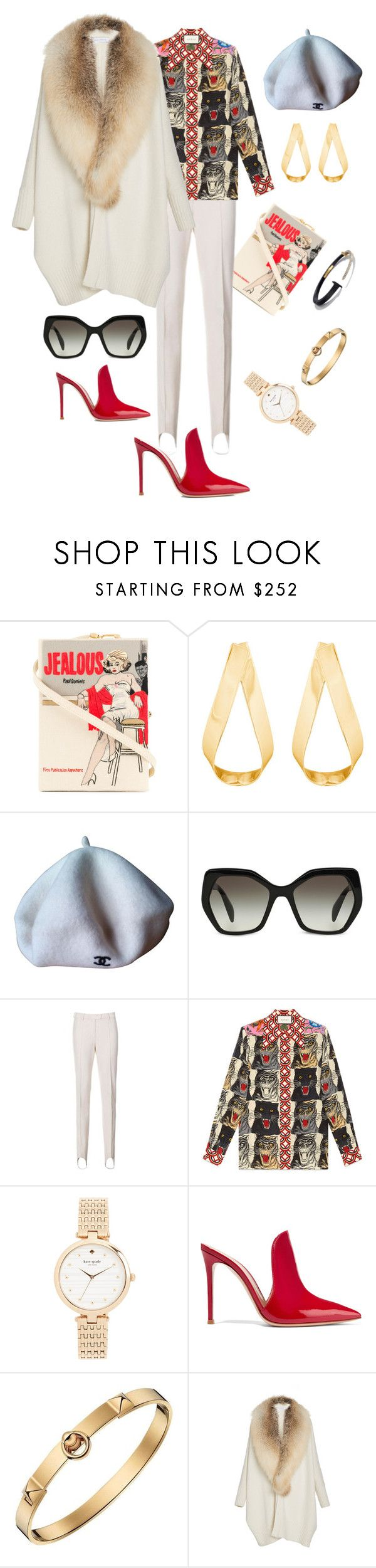 """Wednesday"" by svetlana-me ❤ liked on Polyvore featuring Olympia Le-Tan, Jennifer Fisher, Chanel, Prada, Gucci, Kate Spade, Gianvito Rossi, Hermès and Sally Lapointe"