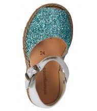 Sandales fille cuir pailleté bleu clair