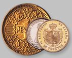 1 peseta de 1944, 1 peseta en plata de la II República, 20 pesetas de 1904