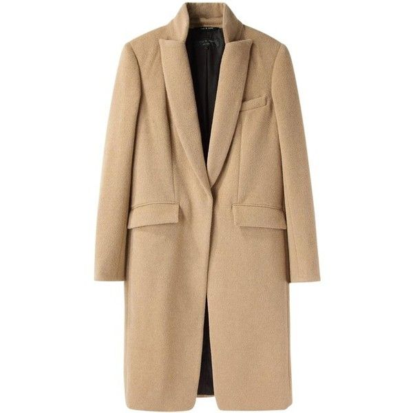 Rag Bone Roseburg Trench Coat (19 060 UAH) ❤ liked on Polyvore featuring outerwear, coats, beige coat, camel wool trench coat, leather-sleeve coats, camel wool coat and trench coat