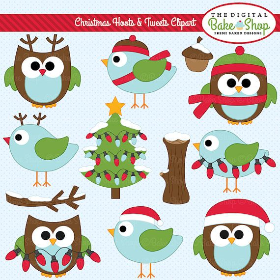owls clipart christmas digital clip art birds woodland - Christmas Hoots and Tweets Clipart