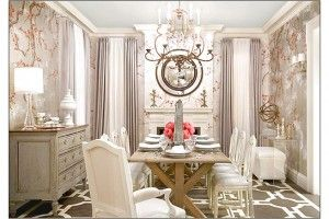 Elegant Luxurious Dining Room Wit Beautiful Wallpapper Best Decoration