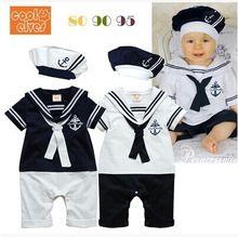 Venta al por menor nueva moda de verano recién nacido marino estilo mameluco del bebé traje infantil chicos chicas mamelucos + hat cuerpo de verano manga corta traje de marinero(China (Mainland))