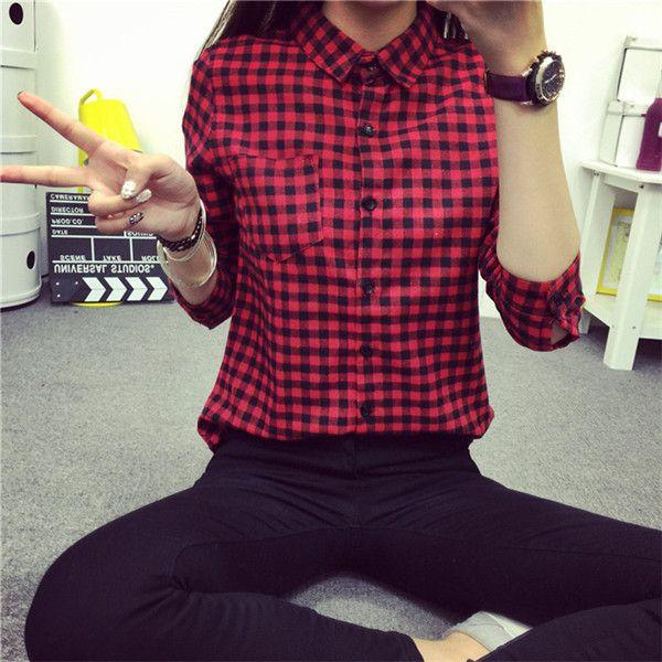 2015 nuevo a cuadros pequeños mujeres blusa Casual solapa de la camisa OL manga larga camisas de algodón mujeres Classic red camisas Tops tamaño Pluse en Blusas y Camisas de Moda y Complementos Mujer en AliExpress.com | Alibaba Group