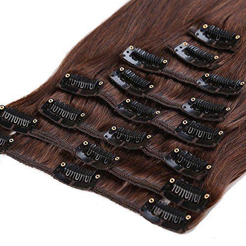 S-noilite® 45-55CM 8 Extensions de cheveux humains à clips naturels – 100% Remy hair – 8Pcs/18Clips (45cm=70g, #02 Chocolat foncé)