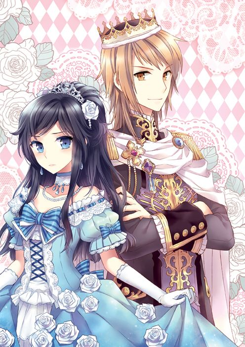 Prince with crown & princess in blue dress by manga artist Nardack.