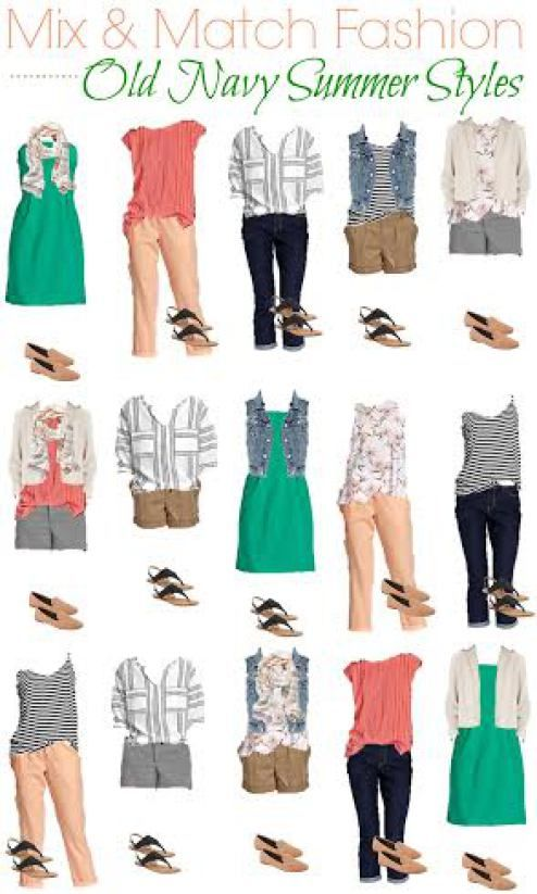 Check out our Old Navy Summer style fashion board and put together all these outfits with just two pair of shoes! It's a perfect summer travel wardrobe.
